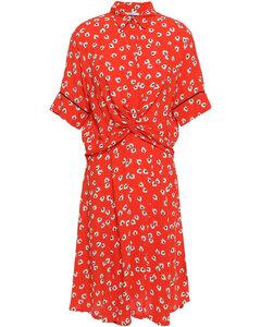 Woman Twist-front Floral-print Crepe Shirt Dress