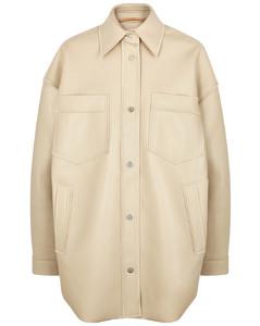 Martin ecru faux-leather jacket