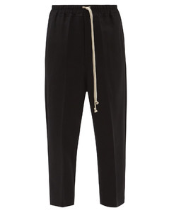 Drawstring cropped wool-blend trousers