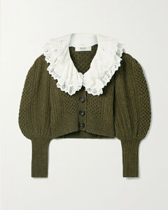 Juliette Broderie Anglaise-trimmed Merino Wool Cardigan