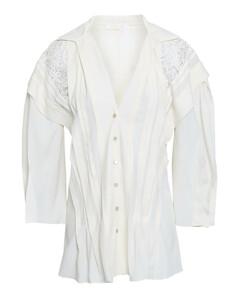 ChloéWoman Lace-paneled Crepe De Chine Shirt
