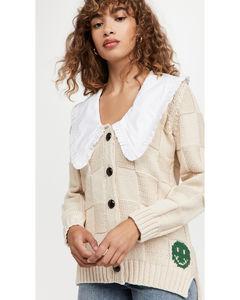 棉绳索针织系扣衫