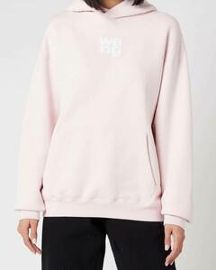 Women's Garment Washed Hoodie with Wang Puff Print - Primrose Pink