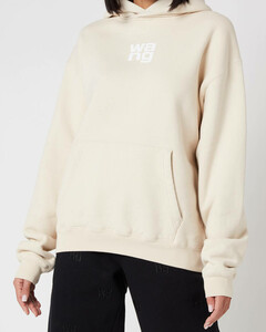 Women's Garment Washed Hoodie with Wang Puff Print - Turtle Dove