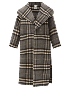 Checked side-slit wool coat