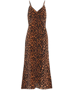 Leopard-print silk dress