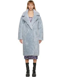 蓝色羊毛双排扣大衣