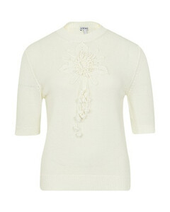 Embroidered short sleeves sweater