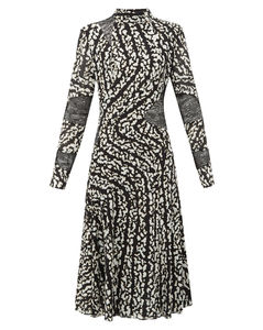 Lace-panel printed silk-blend dress