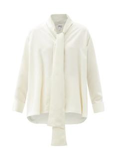 Anagram-scarf silk blouse
