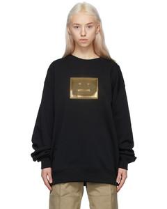 黑色Metallic Patch大廓形套头衫