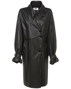 Faux Leather Coated Trench Coat