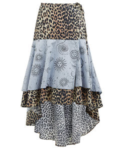 Leopard and moon-print dip-hem cotton skirt