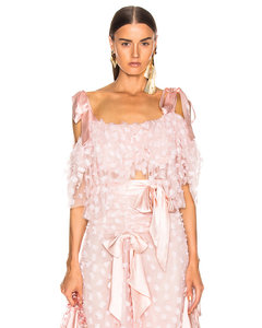 Embroidered Bow Tiered Off the Shoulder Blouse in Pink