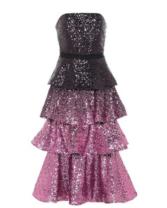 Sequined strapless midi dress