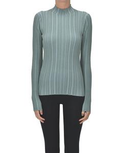 Ribbed knit turtleneck pullover