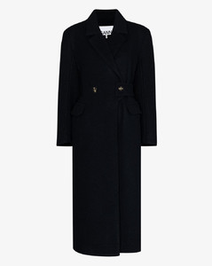 double-breasted long wool coat