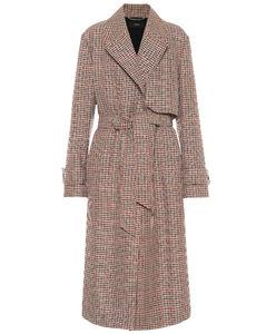 格纹羊毛混纺风衣