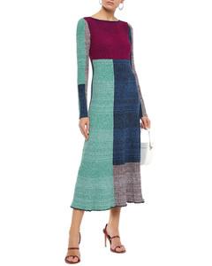 Color-block ribbed-knit midi dress
