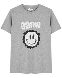 Grey printed cotton T-shirt