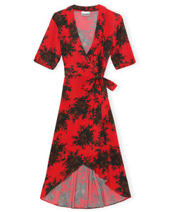 Printed Crepe Wrap Dress High Risk Red