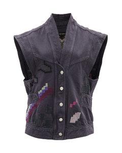 Erilane embroidered denim sleeveless jacket