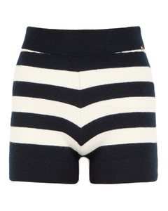 N°179 Very striped cashmere-blend shorts