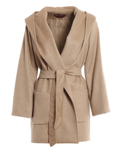 Corolla hooded cashmere and camelhair coat
