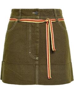 Woman Dive Dye Belted Denim Mini Skirt