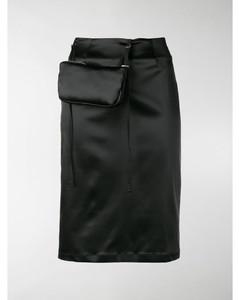 detachable pouch satin pencil skirt