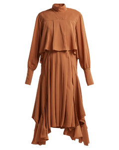 Handkerchief-hem silk crepe-de-Chine dress