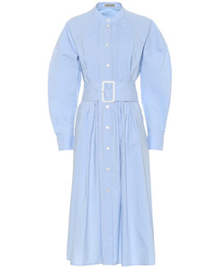 棉質中長連衣裙