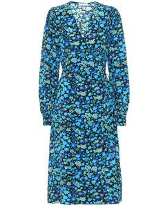 花卉真丝混纺中长连衣裙