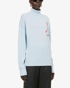 Branded turtleneck wool jumper