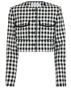 Gingham checked cropped jacket