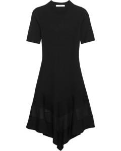 Woman Organza-paneled Dress In Black Ribbed-knit