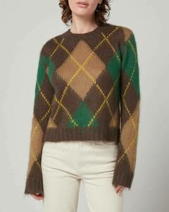 Women's Argyle Jumper - Dark Brown