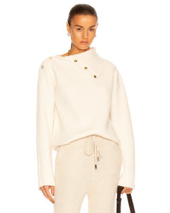 Snap Button Sweater in White