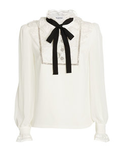 Frill-Collar Pussybow Blouse
