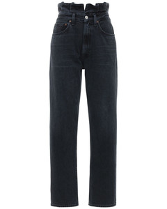 Ruffled Waistband High Waist Jeans