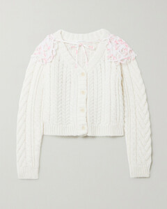 Milo Organza-trimmed Cable-knit Merino Wool-blend Cardigan