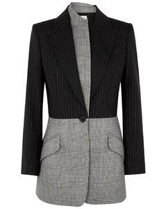 Pinstriped panelled wool blazer