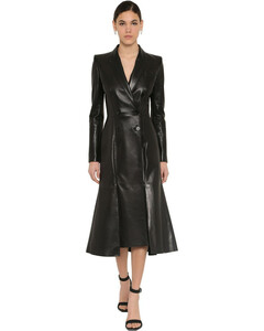 Flared Nappa Leather Trench Coat