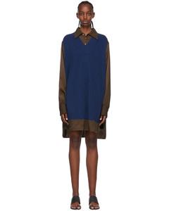 黑色鏤空針織羊毛Polo連衣裙