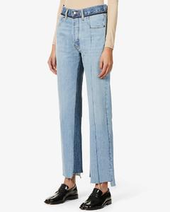 Patchwork high-rise denim trousers