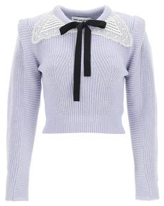 SHORT SWEATER WITH LACE COLLAR