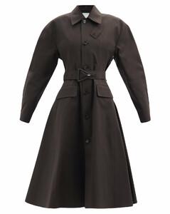 Flared-hem waterproof cotton-blend trench coat