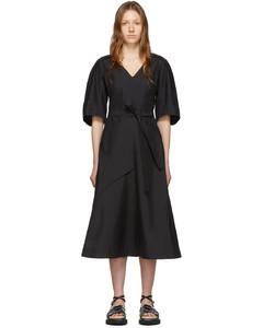 黑色燈籠袖連衣裙