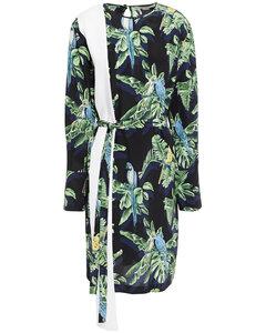 Belted printed silk crepe de chine dress