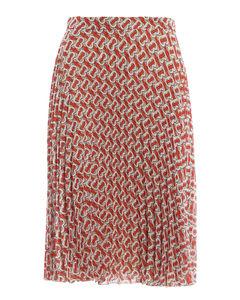 Monogram print pleated skirt
